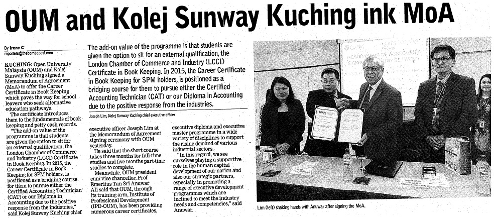 OUM & KSK signed a MOU to offer the Career Certificate of Book Keeping