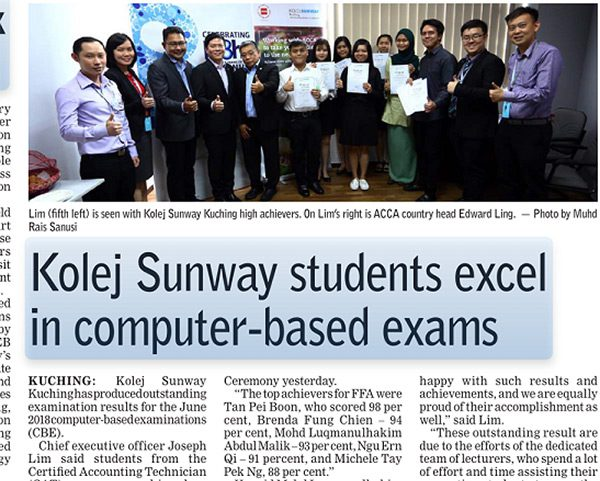 Sunway students excel in computer-based exams